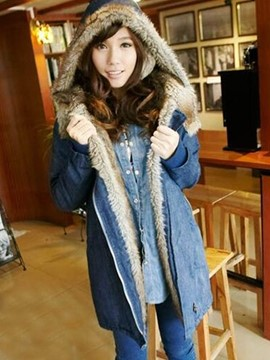Ericdress Tie-Dye Thick Mid-Length Fur Denim Coat