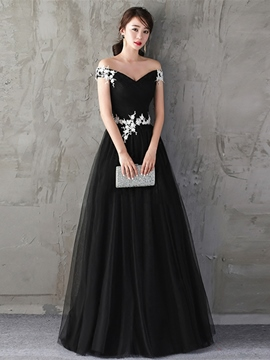 Ericdress A Line Off The Shoulder Applique Long Evening Dress