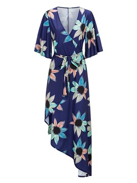 Ericdress Asym V-Neck Floral Print Lace-Up Women's Maxi Dress