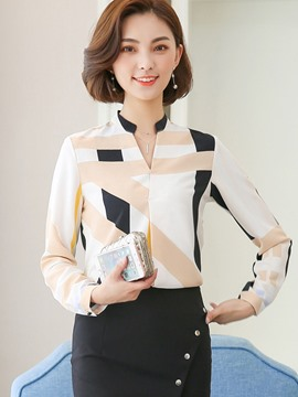 Ericdress Stand Collar Geometric Print Blouse
