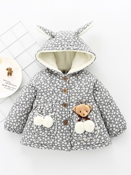 Ericdress Floral Print Bear Hooded Thicken Baby Girls Winter Coat