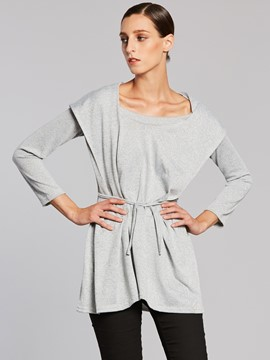 Ericdress Slim Plain Lace-Up Hooded T-shirt
