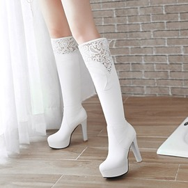 Ericdress Lace Platform Plain Knee High Boots
