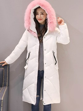 Ericdress Zipper Mid-Length Fur Down Coat