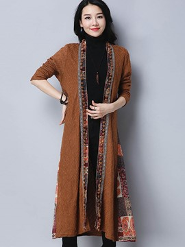 Ericdress Ethnic Patchwork Long Coat