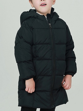 Ericdress Unisex Thick Plain Zipper Hoodie Baby Girls And Boys Down Coat