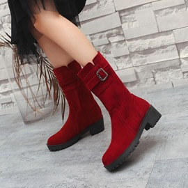Ericdress Buckle Slip-On Plain Flat Boots