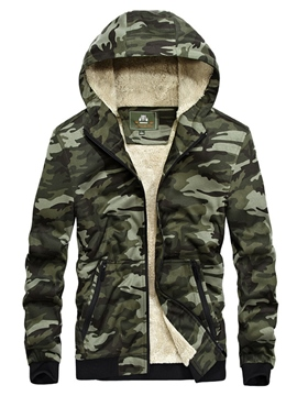 Ericdress Camouflage Hooded Thicken Warm Casual Slim Men's Winter Coat