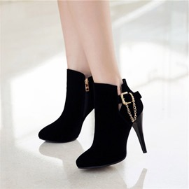 Ericdress Chain&Buckle Plain High Heel Boots