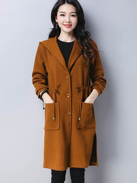Ericdress Plain Thin Mid-Length Hooded Trench Coat