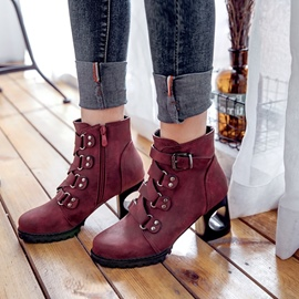 Ericdress Fashion Buckle Hollow Heel Ankle Boots
