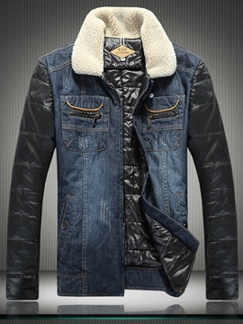 Ericdress Patchwork Lapel Denim Unique Slim Men's Jacket