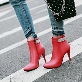 Ericdress Rhinestone Plain High Heel Boots