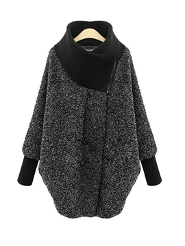 Ericdress Turtleneck Hidden Button Lantern Sleeve Coat