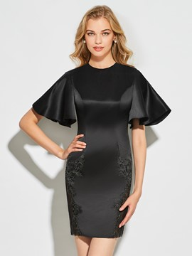 Ericdress Sheath Scoop Neck Short Sleeve Applique Cocktail Dress