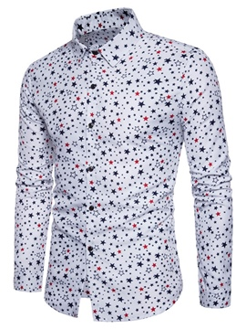 Ericdress Print Lapel Single-Breasted Vogue Slim Men's Shirt