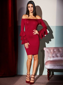 Ericdress Slash Neck Flare Long Sleeve Bodycon Dress
