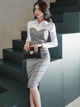 Ericdress Shirt and Knee-Length Bodycon Skirt Women's 2-Piece Set