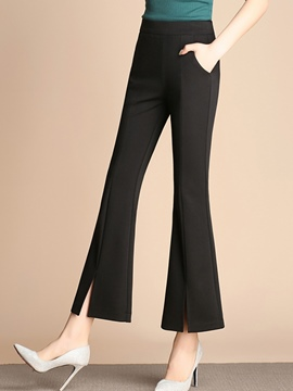 Ericdress High-Waist Slim Bell Bottom Slit Women's Dress Pants