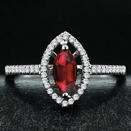 Ericdress Marquise Cut Ruby Silver Wedding Ring for Women