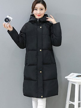 Ericdress Plain Thick Long Hooded Coat