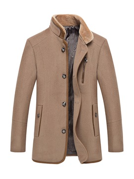 Ericdress Solid Color Stand Collar Slim Men's Woolen Coat