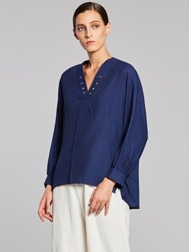 Ericdress V-Neck Plain Mid-Length Blouse