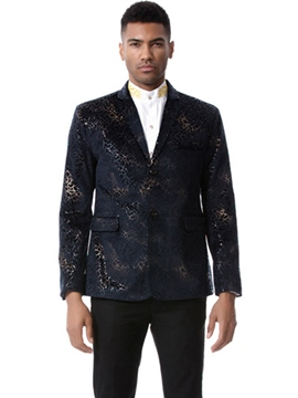 Ericdress Color Block Print Notched Lapel Vogue Slim Men's Blazer
