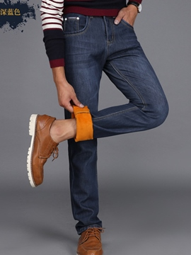 Ericdress Plain Denim Mid-Waist Straight Casual Men's Pants