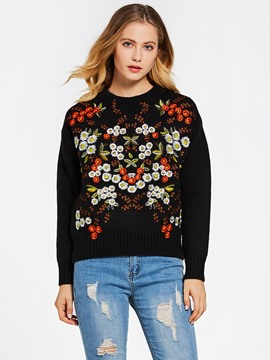 Ericdress Round Neck Floral Embroideried Knitwear