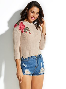 Ericdress Floral Embroideried Asymmetric Pullover Sweater