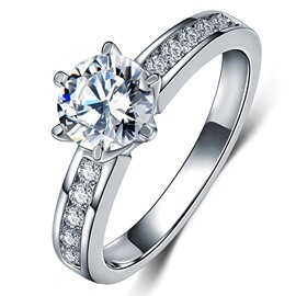 Ericdress Sterling Silver SONA Diamond Round Cut Women's Wedding Ring