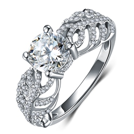MarkChic S925 Sterling Silver Hollow Out Women's Wedding Ring