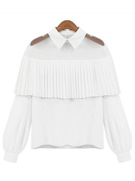 Ericdress Lantern Sleeve Peter Pan Collar Blouse