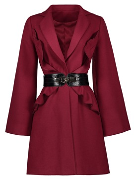 Ericdress Notched Lapel Belt Mid-Length Coat