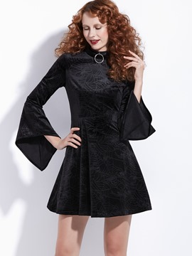 Ericdress Halloween Pleuche Flare Long Sleeves A-Line Women's Dress