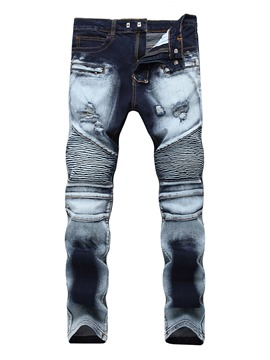 Ericdress Hole Zip Print Denim Vogue Slim Men's Pants