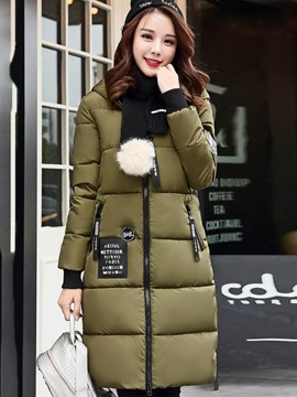 Ericdress Zipper Slim Hooded Thick Coat