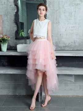 Ericdress A Line Scoop Neck Layers Asymmetry Two Pieces Prom Dress