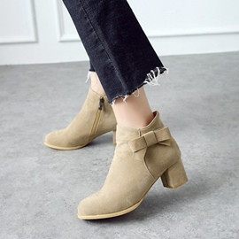 Ericdress Plain Round Toe Chunky Heel Ankle Boots with Bowknot