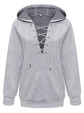 Ericdress Loose Lace-Up Plain Cool Hoodie