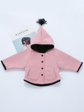 Ericdress Batwing Plain Long Sleeve Hooded Baby Girls Coat