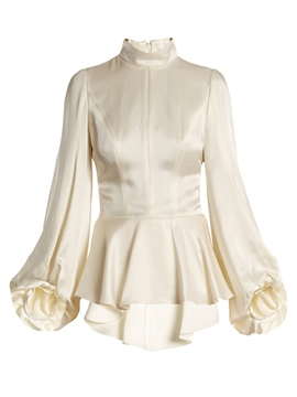 Ericdress Plain Stand Collar Lantern Sleeve Blouse