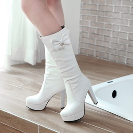 Ericdress Bowknot Decorated Platform Knee High Boots with Beads
