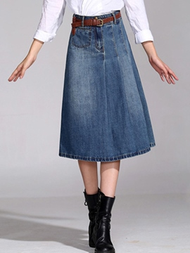 Ericdress A-Line Patchwork Denim Pocket Skirt