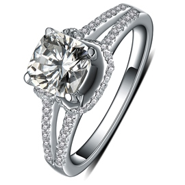 MarkChic Cushion Cut Four-Prong Setting Wedding Ring for Women