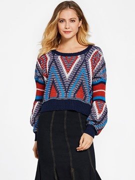 Ericdress Color Block Geometric Pattern Sweater