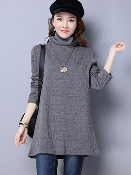 Ericdress Turtleneck Plain Mid-Length T-shirt