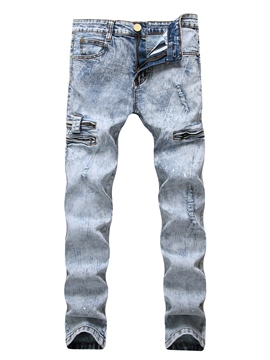 Ericdress Hole Zip Cotton Denim Casual Slim Men's Pants