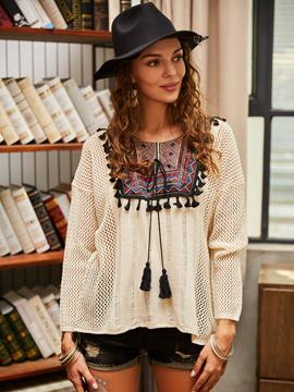 Ericdress Round Neck Hollow Tassel Knitwear